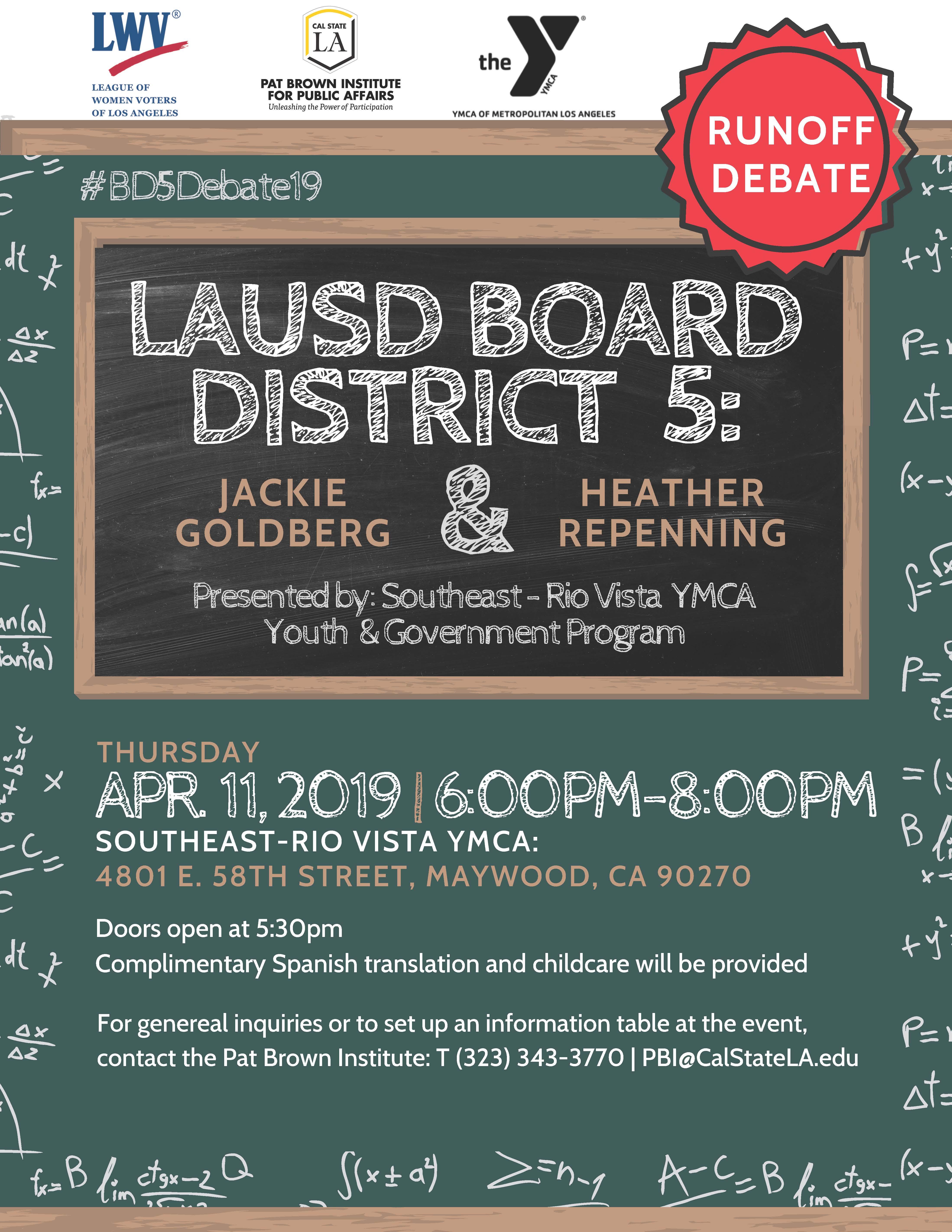 , LAUSD Board District 5 Runoff Candidate Debate